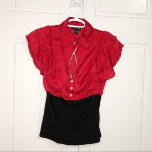 Seduction Small Women Blouses Red Black Shirt